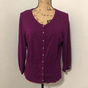 {WHBM} Purple Snap Front Cardigan